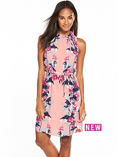 oasis-leaf-amp-rose-ruched-neck-dress