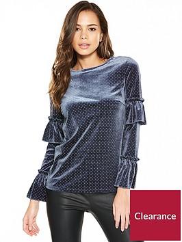 v-by-very-frill-sleeve-printed-velvet-top-blue