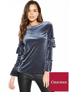v-by-very-frill-sleeve-velvet-top