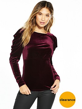 v-by-very-pleat-sleeve-velvet-top