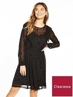 v-by-very-star-mesh-skater-dress-black