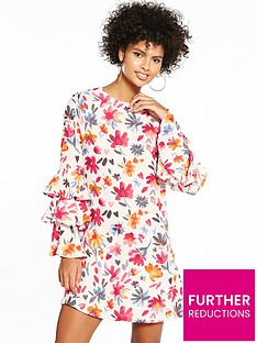 v-by-very-frill-fluted-sleeve-tunic-dress-pink-print