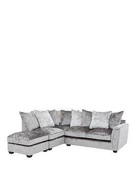 Glitz Left-Hand Fabric Corner Chaise Sofa - Grey/Silver, Black/Pewter