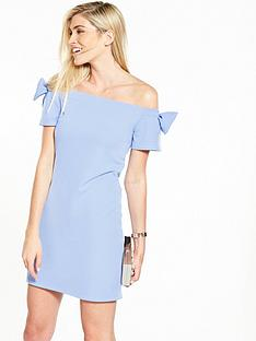 v-by-very-bow-bardot-crepe-dress-cornflower-blue
