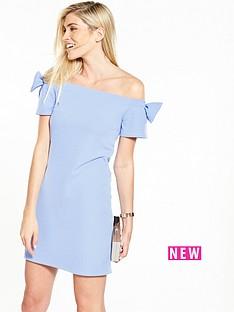 v-by-very-bow-bardot-crepe-dress-cornflower-blue