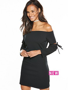v-by-very-tie-sleeve-crepe-bardot-dress-black