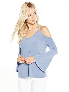 v-by-very-cold-shoulder-long-sleeve-slinky-top-dusty-blue