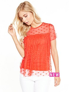 v-by-very-polka-dot-mesh-top-burnt-orange