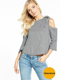 v-by-very-gingham-bow-cold-shoulder-top