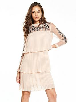 Photo of V by very tiered pleated embroidered dress - blush