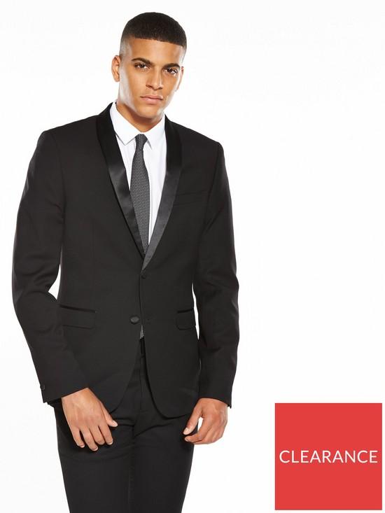 9647141a983d2a V by Very Slim Textured Tuxedo Jacket - Black