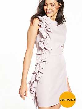 miss-selfridge-ruffle-side-shift-dress-grey