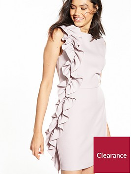 miss-selfridge-ruffle-side-shift-dress-grey