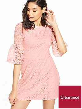 miss-selfridge-lace-flute-sleeve-shift-dress-pink
