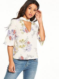 miss-selfridge-floral-print-choker-blouse