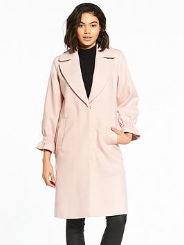 V By Very Gathered Sleeve Detail Coat