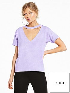 miss-selfridge-petite-raw-edge-choker-sweat-purple