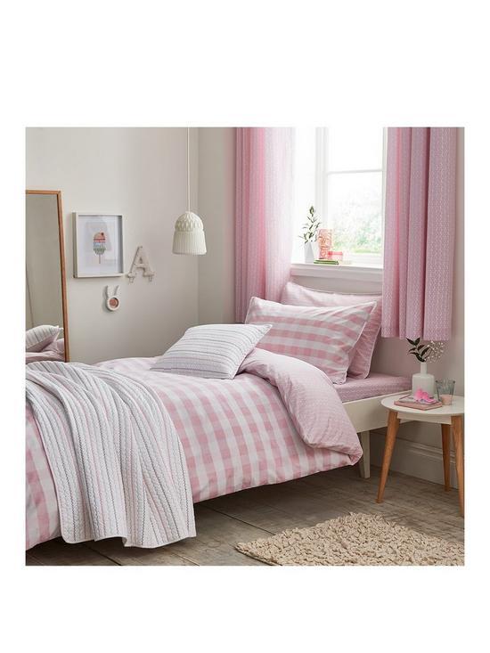 290976d312d97 Bianca Cottonsoft Gingham Single Duvet Cover Set - Pink   very.co.uk