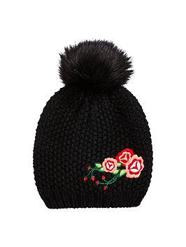 v-by-very-girls-embroidery-detail-bobble-beanie-hat-black