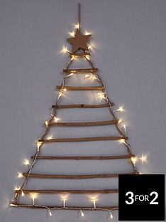rustic-wooden-lit-ladder-tree-wall-christmas-card-holder