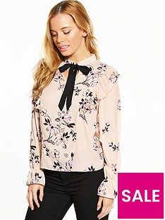 v-by-very-petite-tie-neck-woven-blouse