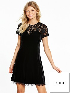 v-by-very-petite-short-sleeve-lace-yoke-velvet-dress-black