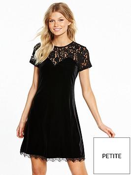 v-by-very-petite-short-sleeve-lace-yoke-velvet-dress-black