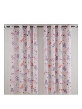 Product photograph showing Catherine Lansfield Magical Unicorns Eyelet Curtains - Exclusive To Us