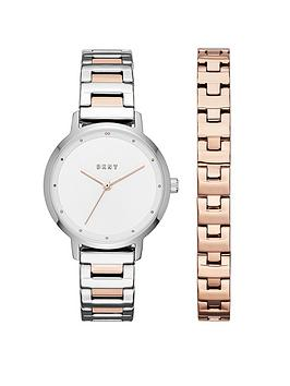 dkny-dkny-modernist-gift-set-rose-and-silver-tone-bracelet-ladies-watch