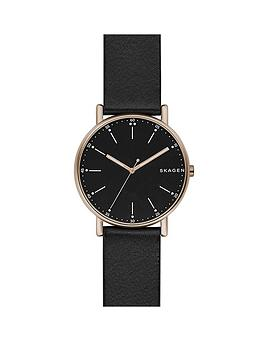 skagen-signatur-black-leather-strap-mens-watch