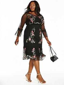 v by very curve embroidered mesh midi dress