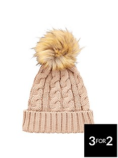 v-by-very-chunky-cable-knit-pom-pom-beanie