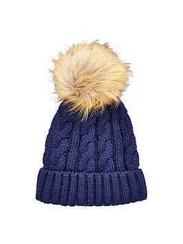 v-by-very-chunky-cable-knit-pom-pom-beanie-navy