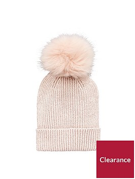 v-by-very-lurex-thread-faux-fur-pom-pom-beanie-pink