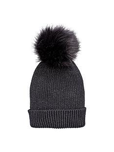 v-by-very-lurex-thread-faux-fur-pom-pom-beanie-black