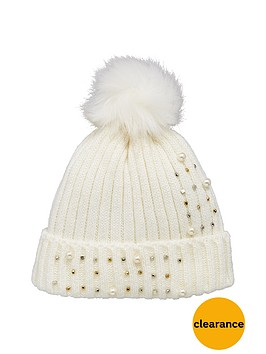 v-by-very-pearl-and-embellished-detail-beanie-cream
