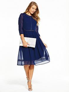 v-by-very-ladder-detail-midi-dress