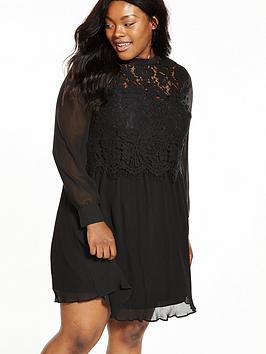 v by very curve plisse skirt lace trim top dress