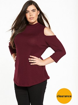 v-by-very-curve-cold-shoulder-key-hole-swing-ribbed-tunic-burgundy