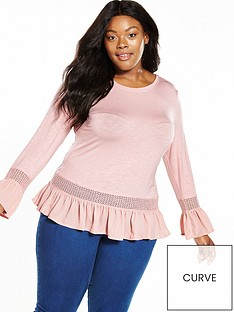 v-by-very-curve-long-sleeved-woven-hem-and-cuff-jersey-top-blush