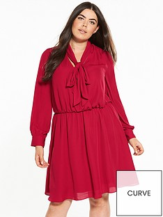 v-by-very-curve-wrap-front-pussy-bow-tea-dress-red