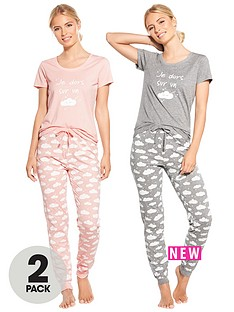 v-by-very-2-pack-i-sleep-on-a-cloud-print-short-sleeve-pj-set-pinkgrey