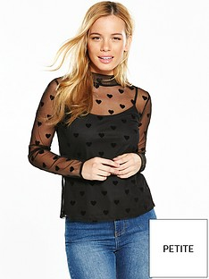 v-by-very-petite-heart-flock-mesh-top