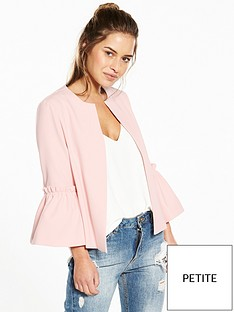 v-by-very-petite-fluted-sleeve-jacket-blush