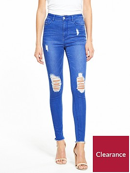 v-by-very-ella-high-rise-rip-knee-skinny-fresh-blue