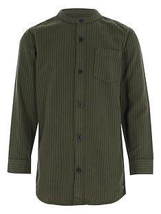 river-island-boys-khaki-stripe-grandad-shirt