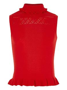 river-island-girls-red-knit-pointelle-high-neck-top