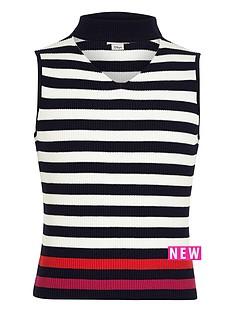 river-island-girls-navy-stripe-sleeveless-choker-jumper
