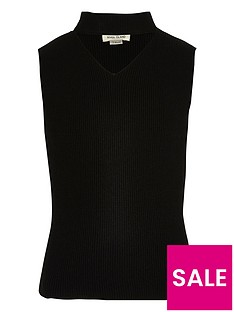 river-island-girls-black-knit-sleeveless-choker-top