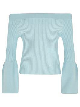 river-island-girls-light-blue-bell-sleeve-bardot-top